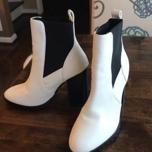 Faux leather ankle boots.